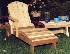 Red Cedar Chaise Lounge Chair - Cedar Adirondack Chaise Lounge