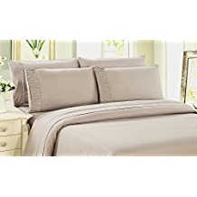 Bamboo Living Eco Friendly Egyptian Comfort Bedding 6 Piece Sheet Set (w/4 Pillowcases) (Beige, Twin)