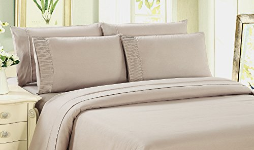 Price comparison product image Bamboo Living Eco Friendly Egyptian Comfort Bedding 6 Piece Sheet Set with 4 Pillowcases, Beige Color, Queen Size