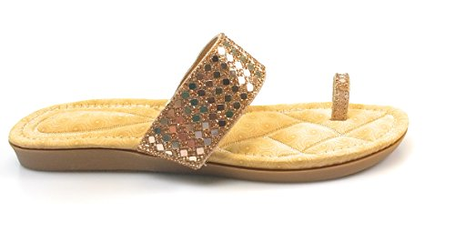Sandales Plates Femmes Strass Slip-on Strass Orteil Rosa-81 Rose-gold