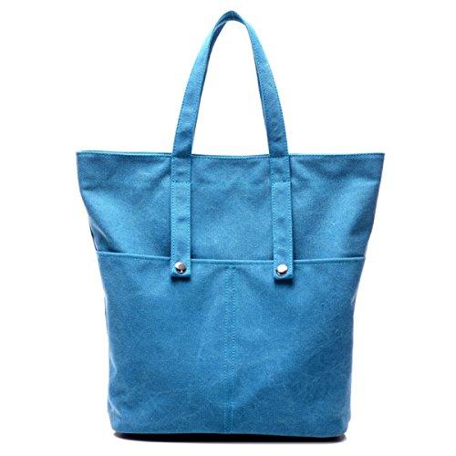 Frauen Jahrgang Leinwand Schulter Aktentasche Messenger Handtasche Einkaufen Outdoor Tasche ,Blue-OneSize