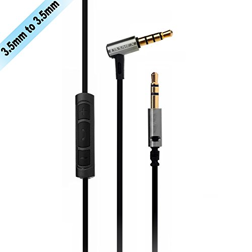 Remote Audio Device Mic (LASMEX 3.5mm Male to Male Stereo Audio Cable with Microphone and Volume Control for for iPhone, iPod, iPad, Selected Android Smartphones, Headphone Replacement Cable (5.2ft / 1.6m))