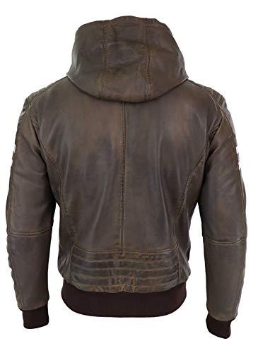 Homme Bomber Matelassage Sur Noir Manches Rouges Épaules Capuche Veste Marron Rayures Avec Style Véritable Cuir Usa 0d7Opq