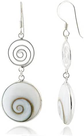 925 Sterling Silver Natural Shiva Eye Shell Double Round Dangle Drop Earrings