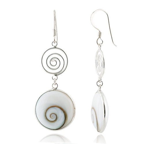 925 Sterling Silver Natural Shiva Eye Shell Double Round Dangle Drop Earrings (Sterling Silver Natural Shell)