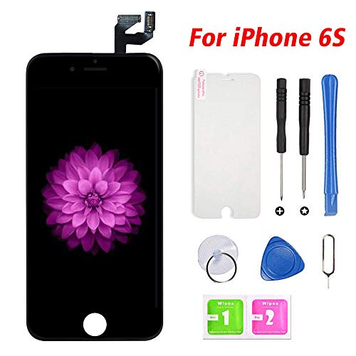 FFtopu Compatible with iPhone 6s Screen Replacement Black, LCD Display & Touch Screen Digitizer Frame Assembly with Repair Tools(5.5'')