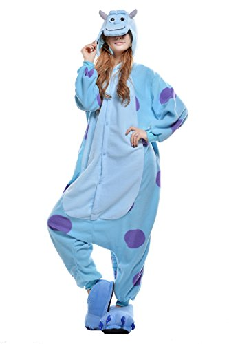 PECHASE Halloween Adult Pajamas Sleepwear Animal Cosplay Costume (M, Sullivan) -