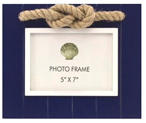 Navy Wood Slat 5 Inch X 7 Inch Photo Frame with Rope - Navy Frame