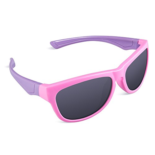 RIVBOS Rubber Flexible Kids Polarized Sunglasses Glasses for Baby and Children Age 3-10 (Mirrored Lens Available) RBK035(Pink,Black Polarized (Cheap Coloured Contact Lenses)