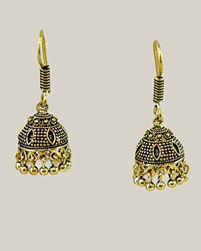 Pretty Drop Dangle Earrings in Antique Gold Finished Brass - Delicate Jhumki Style Earrings