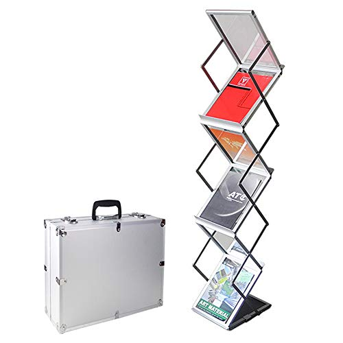 (GUOHONG Foldable Magazine Catalog Literature Display Holder Rack Stand, Aluminum Portable Exhibition Literature Floor Stand and Trade Show Display, Carrying Case Included (6 Pockets))