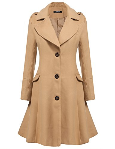 Zeagoo Women Lapel Single Breasted Wool Overcoat Long Swing Coat Jacket Camel (Wool Swing Coat)