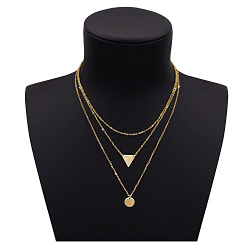 Necklace Double Layered (Gudukt Triangle Necklace Pendant Disc Coin with Metal Chain Treble Layers for Women)