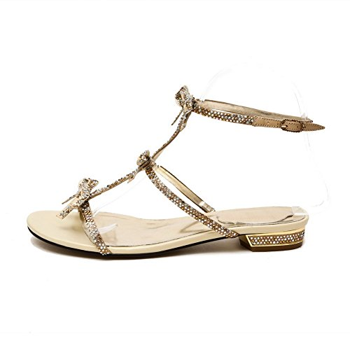 Material Open heels Solid Sandals Buckle Gold Womens Low Soft Toe AllhqFashion 1xpw4qq