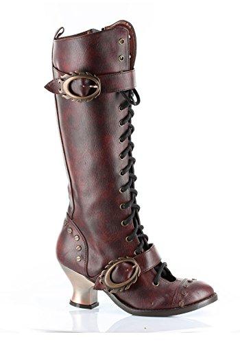 HADES Thundra, Vintage, Retro, Vintage-Stil, PU-Leder, zum Schnüren Knie-Stiefel burgunderfarben