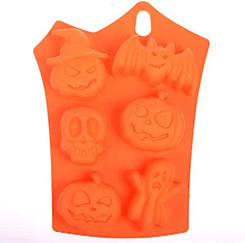 BCP Halloween decor Bat Pumpkin Face Skull Ghost Ice Cube Shapes Silicone jelly Chocolate Bread Soap Muffin Baking Cake Handmade Mold 9 x 6 Inch