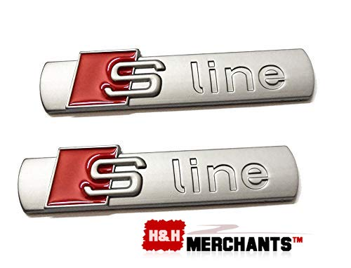 (H&H Merchants 2pcs Sline Emblems, S Line Quattro Supercharged Alloy Emblem 3D Badge Blade Side Fender Sticker Replacement for Audi Series A4 A6 A8 Q5 Q7 Tt Logo Silver)