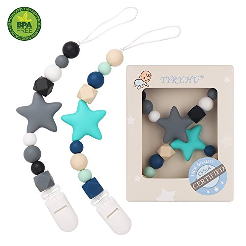 Pacifier Clip TYRY.HU Teething Silicone Beads Teether Toys BPA Free Binkie Holder for for Boys, Girls, Baby Shower Gift (Turquoise, Grey)