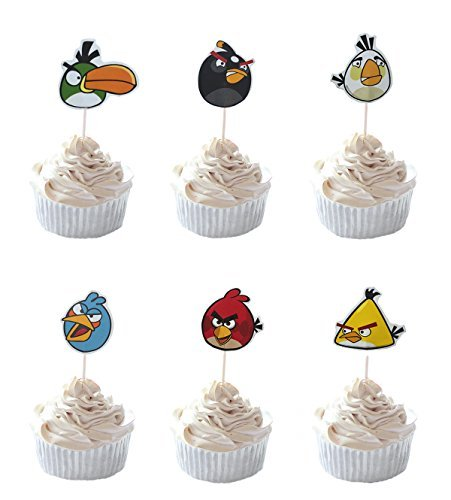 Party Hive 24pc Angry Bird Cupcake Toppers for Birthday Party Event Decor ()
