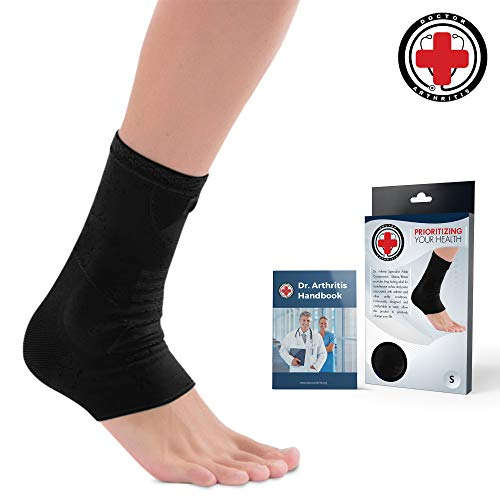 Doctor Developed Ankle Brace/Compression Sleeve/Ankle Support – & Doctor Written Handbook – Protector/Guard with Silicon Gel Pad for Foot Support [Single] (Black, L)