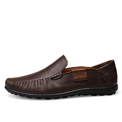 Shenn Mens Slip På Plana Tillfälliga Läder Loafers Skor Kaffe