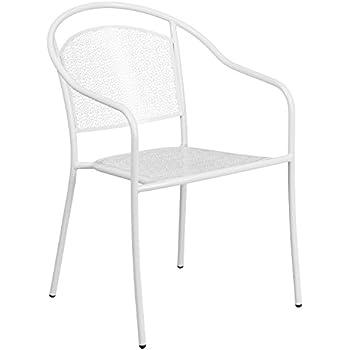 Amazon Com Flash Furniture White Indoor Outdoor Steel