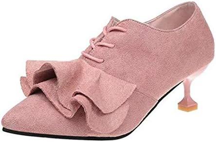 DECJJ- Falda de Zapatos para Mujer, con Punta, tacón pequeño ...