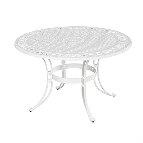Home Styles 5552-30 Biscayne Round Outdoor Dining Table, White Finish, - Set Biscayne Dining