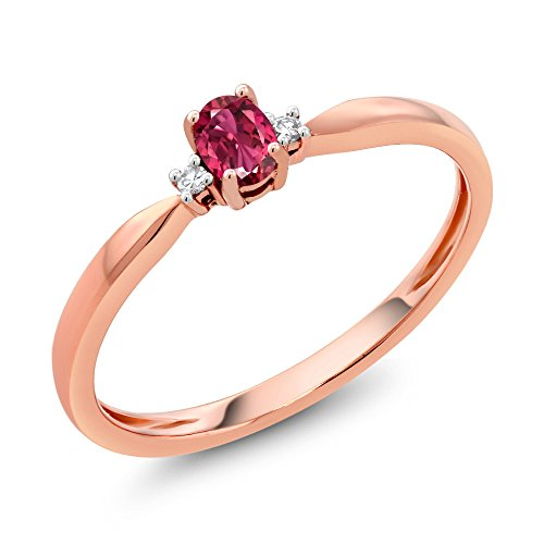 Gem Stone King 18K Rose Gold 0.17 Ct Oval Pink Tourmaline and Diamond Engagement Ring (Size 6)