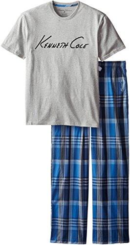 Kenneth Cole New York Men's Comfortable Soft 2 Pc Short Sleeve Pajama Set, Medium Grey Heather, Large