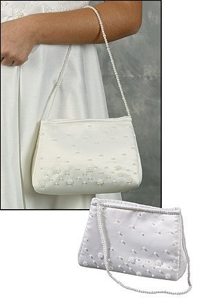 1151154f3187 Girls First Communion Purse 7 Inch Beaded White Satin Handbag with 19 Inch  Handle