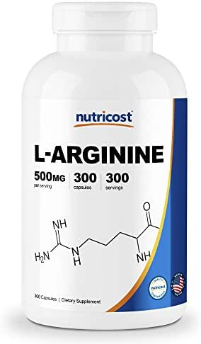Nutricost L-Arginine 500mg, 300 Capsules - Gluten Free, Made in The USA