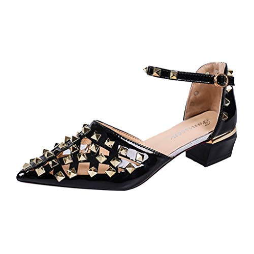 (COOlCCI_2019 NEW ARRIVAL Womens Pointed Toe Studded Slingback Low Heel Leather Sandals for Even Black)