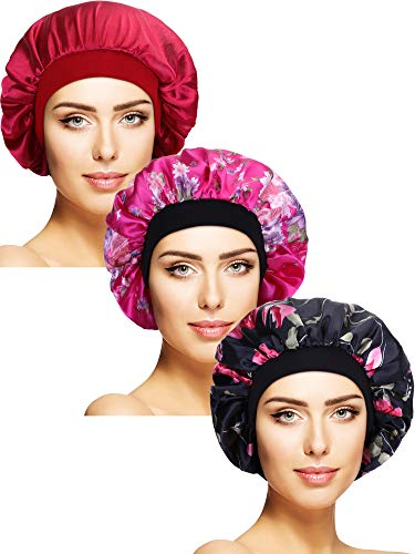 (Tatuo 3 Pieces Satin Sleeping Cap Wide Band Caps Salon Bonnet Night Sleep Hat for Women, 3 Styles (Color Set 3))