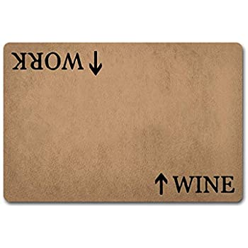 Doormat Entrance Floor Mat WayDoor Mat Wine in Work Out Doormat Funny Wine Door Rugs-Funny Doormat Home and Office Decorative Indoor/Outdoor/Kitchen Mat Non-Slip and Non-Woven Fabric 23.6
