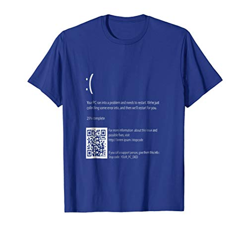 Blue Screen Of Death T-shirt ;The scariest Halloween costume -