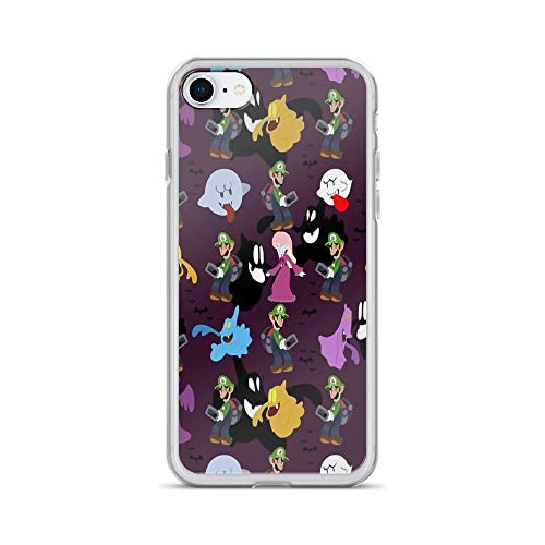 iPhone 7 Case iPhone 8 Case Clear Anti-Scratch Luigi's Mansion Pattern, Luigi Cover Phone Cases for iPhone 7/iPhone 8, Crystal Clear -