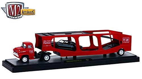 (M2 Machines 1958 Chevrolet Spartan LCF & 1968 Pontiac Firebird 400 H.O. (Black w/White Stripe) Auto-Haulers Release 19B - 2016 Castline 1:64 Scale Die-Cast Vehicle Set (R19 16-09))