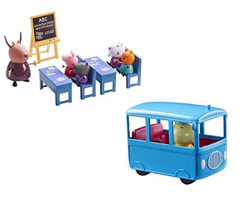 Peppa Pig Peppa's Mini School Bus & Classroom Bundle Playset Toy Age 3+ (Classroom Peppa Pig Playset)