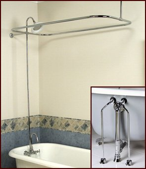 Complete Brass Add On Shower Combo Set For Clawfoot Tub