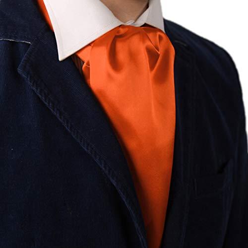 Dan Smith DRA7E01N Orange Solid Mens Microfiber Ascot Business- casual Groomsmen Cravat Happy Gift