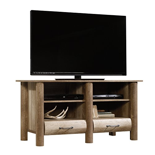 Sauder 416598 Boon Mountain TV Stand, Craftsman Oak Finish, Holds up to a 47