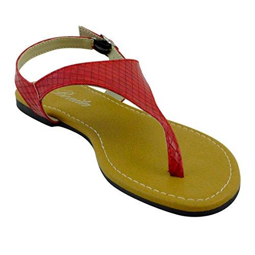 Bonita Kvinners T-stropp Justerbar Stropp Flate Sandaler V-01 Rød