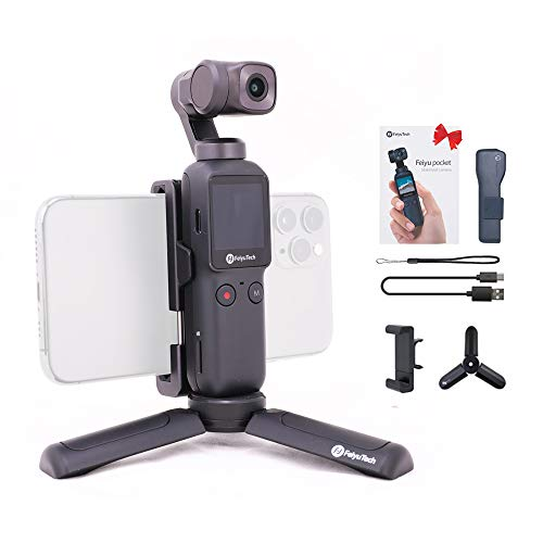 Feiyu Pocket Handheld Video Camera 3-axis Gimbal Stabilizer - FeiyuTech Integrated 4K for Live Video Record Face/Object Tracking,Motion TimeLapse fits Android/iOS Smartphone (with Tripod+Phone Holder)