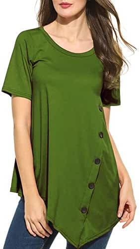 Sweetnight Women's Casual O-Neck Short Sleeve Solid Asymmetrical Pleated T-Shirt Blouse Top Plus Size