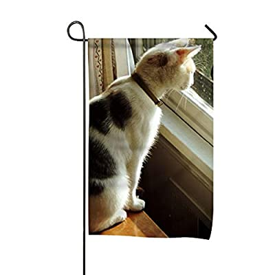 Degrema Animal Cats Garden Flags Semi Transparent Polyester Fiber