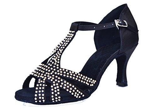 Tda Femmes Boucle T-strap Cristaux De Satin Talon Haut Confort Soir Mariage Latine Chaussures De Danse Moderne Noir