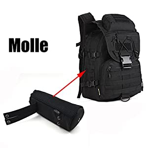 ArcEnCiel Molle Water Bottle Outdoor Kettle Set Field Tactical Pocket Accessories Small Carrier Holder Bag (Black)