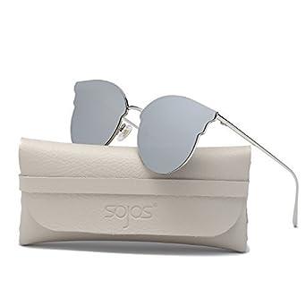 SOJOS Lunettes de Soleil Œil de Chat Grande Miroité Métal Moderne pour Femme SJ1055S avec Argenté Cadre/Vert Miroir Lentille WbM7kK2i7