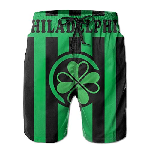 Mens Quick Dry Beach Shorts - Casual Swim Trunks - It's Always Sunny in Philadelphia Paddy's Irish Pub Green 3D Print Summer Surfing Shorts with Elastic Waist Drawstring
